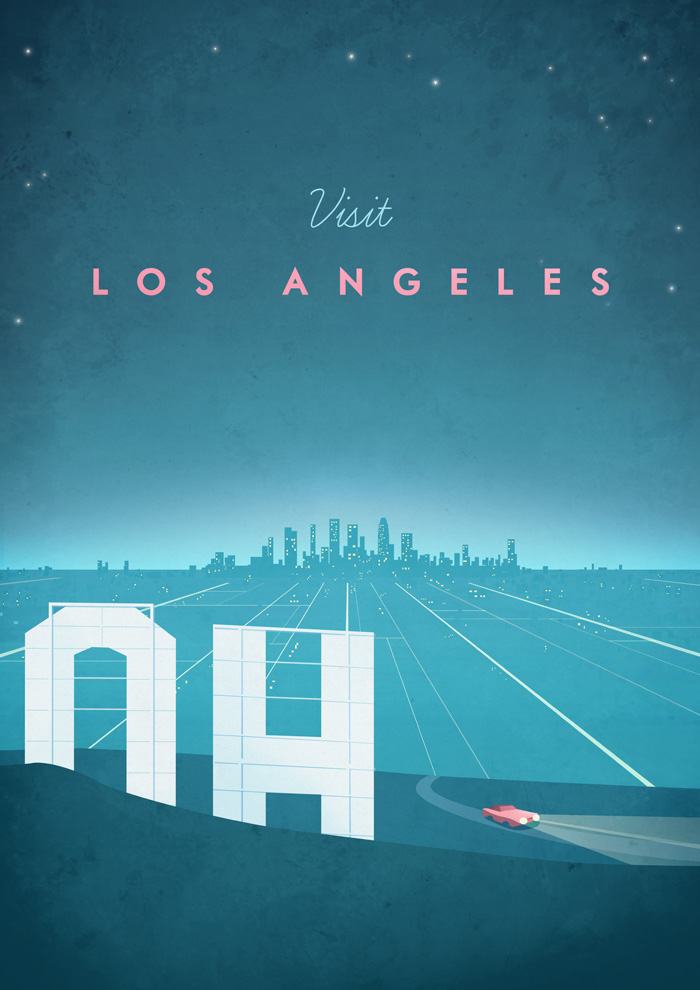 Los Angeles Vintage Travel Poster Art Print by Henry Rivers