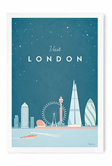 London Vintage Travel Poster Art by Henry Rivers