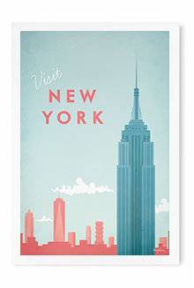 New York Vintage Travel Poster Art by Henry Rivers