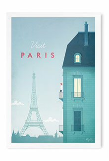 Paris Vintage Travel Poster Art by Henry Rivers