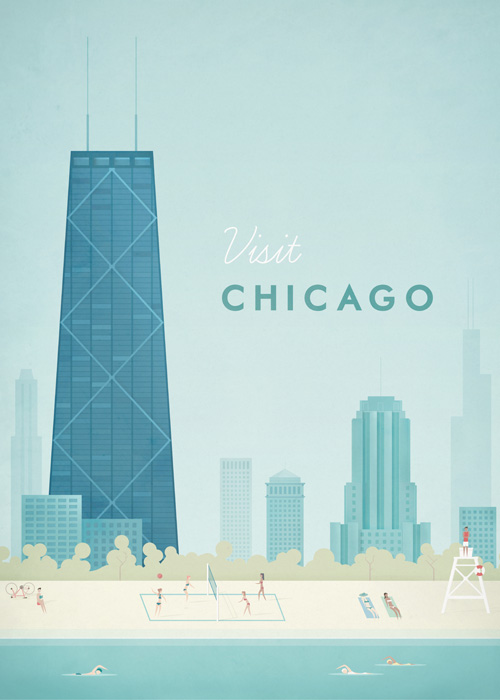 Chicago Vintage Travel Poster Art Print by Henry Rivers