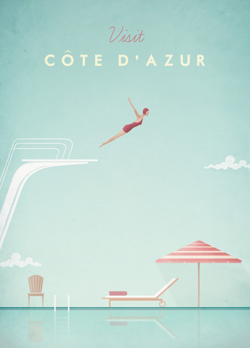 Berlin Cote D'Azur Travel Poster Art Print by Henry Rivers width=