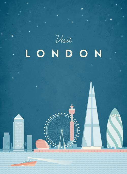 London Vintage Travel Poster Art Print by Henry Rivers