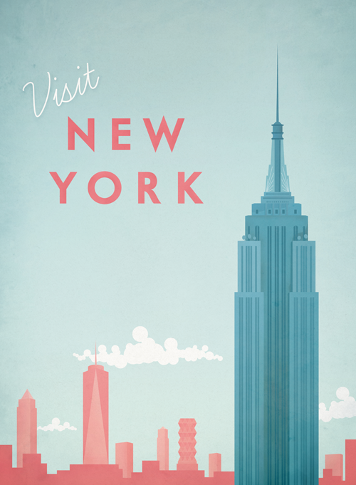 new york vintage travel poster travel poster co. Black Bedroom Furniture Sets. Home Design Ideas