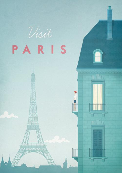 Paris Vintage Travel Poster Art Print by Henry Rivers