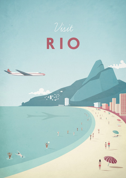 Rio Vintage Travel Poster Art Print by Henry Rivers