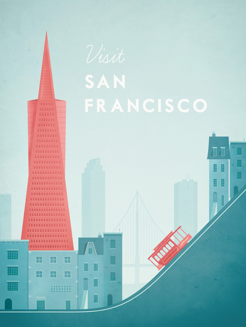 San Francisco Vintage Travel Poster Art Print by Henry Rivers