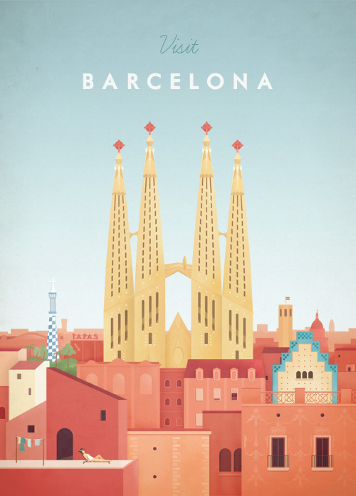 Barcelona Vintage Travel Poster Art Print by Henry Rivers