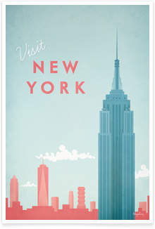 New York New York Vintage Travel Poster Art by Henry Rivers