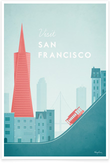 San Francisco California Vintage Travel Poster Art by Henry Rivers