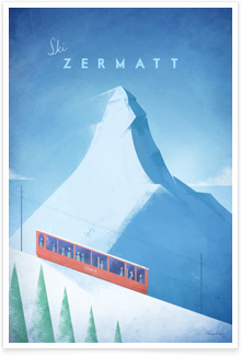 Ski Zermatt Alps Vintage Travel Poster Art by Henry Rivers