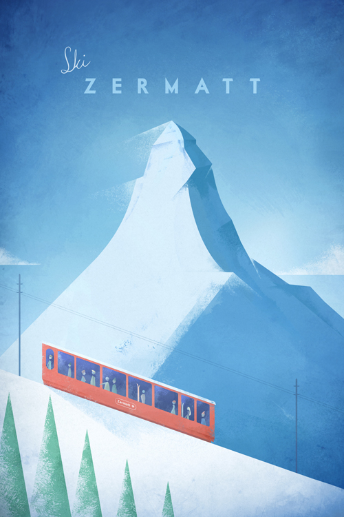 Vintage Zermatt Vintage Travel Poster Art Print by Henry Rivers