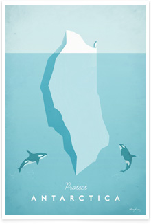 Antarctica Vintage Travel Poster Art by Henry Rivers