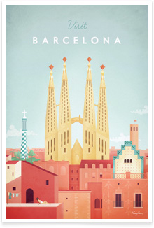 Barcelona Vintage Travel Poster Art by Henry Rivers