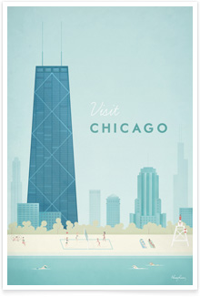 Chicago Vintage Travel Poster Art by Henry Rivers