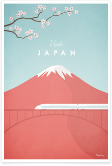 Japan Vintage Travel Poster Art by Henry Rivers