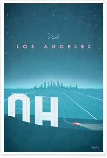 Los Angeles LA California Vintage Travel Poster Art by Henry Rivers