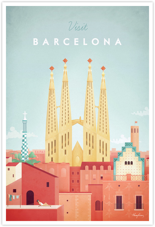 Barcelona Vintage Travel Poster by Henry Rivers- Barcelona Vintage Travel Art Print