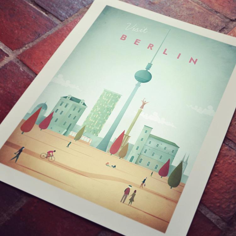 Detail of Berlin vintage travel poster art print