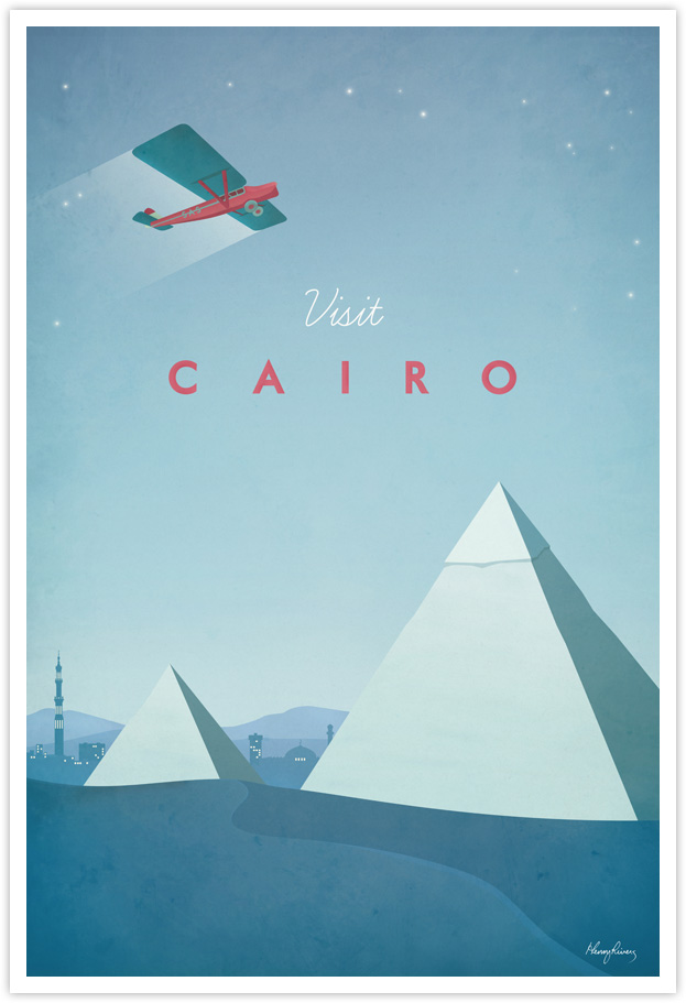 Cairo Egypt Vintage Travel Poster by Henry Rivers- Cairo Egypt Vintage Travel Art Print