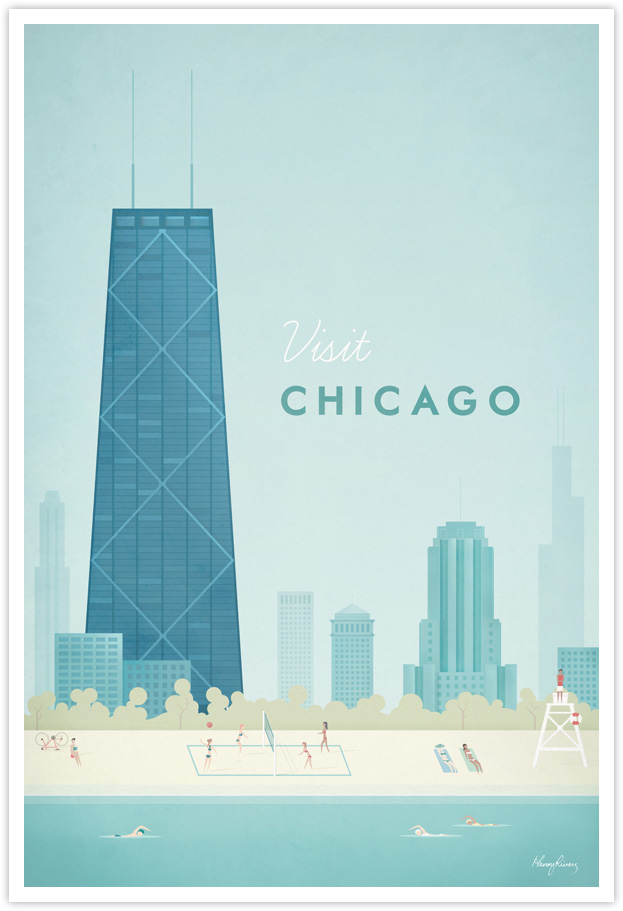 Chicago Vintage Travel Poster by Henry Rivers- Chicago Vintage Travel Art Print