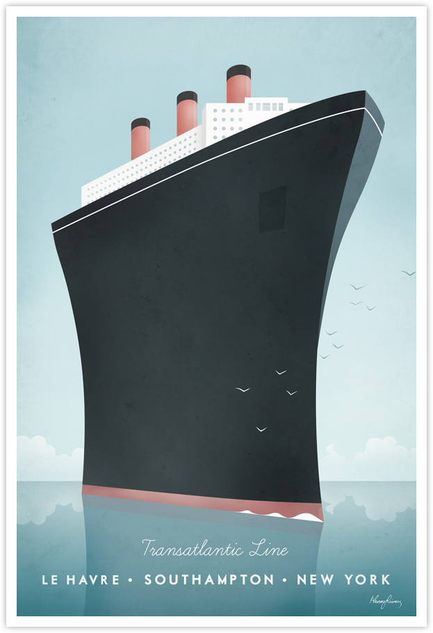 Cruise Ship Vintage Travel Poster by Henry Rivers- Cruise Ship Vintage Travel Art Print