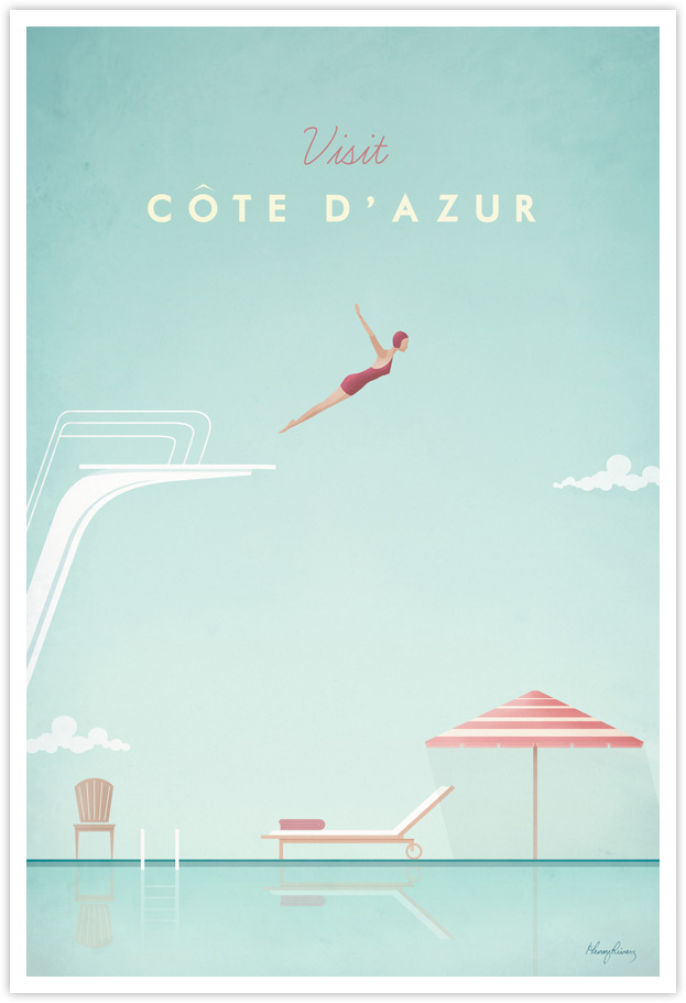 Cote D'Azur Vintage Travel Poster by Henry Rivers- Cote D'Azur Vintage Travel Art Print