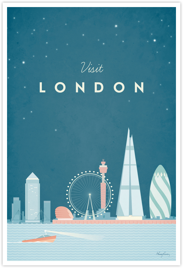 London Vintage Travel Poster by Henry Rivers- London Vintage Travel Art Print