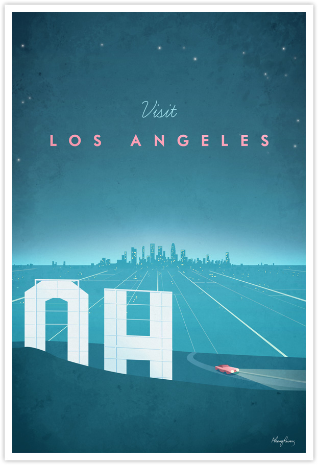 Los Angeles Vintage Travel Poster by Henry Rivers- Los Angeles Vintage Travel Art Print