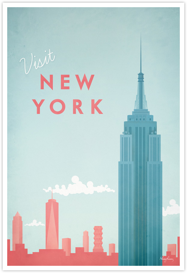 New York Vintage Travel Poster by Henry Rivers- New York Vintage Travel Art Print