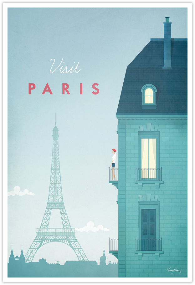 Paris Vintage Travel Poster by Henry Rivers- Paris Vintage Travel Art Print