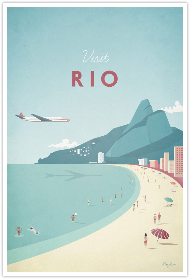 Rio Vintage Travel Poster by Henry Rivers- Rio Vintage Travel Art Print