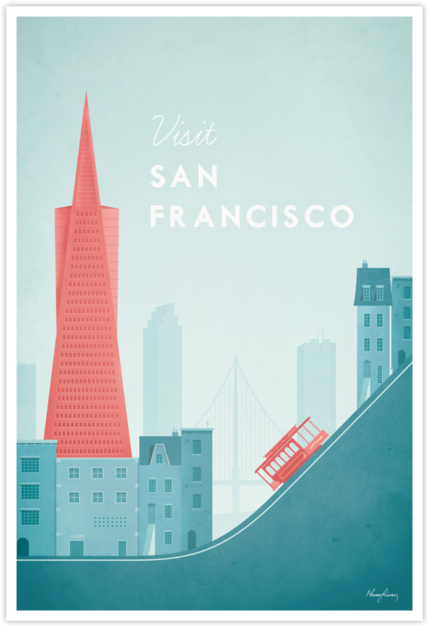 San Francisco Vintage Travel Poster by Henry Rivers- San Francisco Vintage Travel Art Print