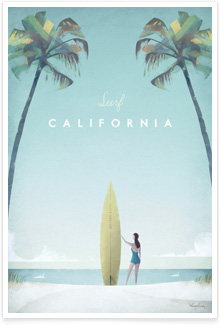 California Vintage Travel Poster Art by Henry Rivers