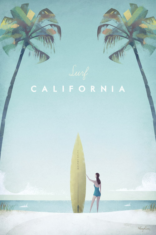 Vintage-style Surf California Vintage Travel Poster by Henry Rivers