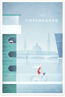 Copenhagen Vintage Travel Poster Art by Henry Rivers