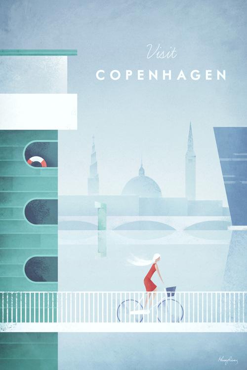 Vintage-style Copenhagen Vintage Travel Poster by Henry Rivers