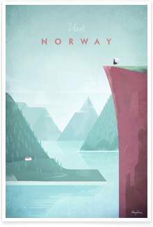Norway Vintage Travel Poster Art by Henry Rivers