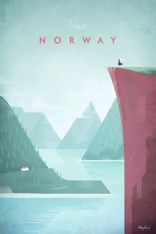 Vintage-style Norway Vintage Travel Poster by Henry Rivers