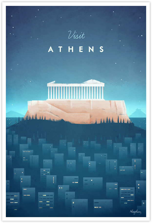 Vintage Travel Poster - Athens Vintage Travel Art