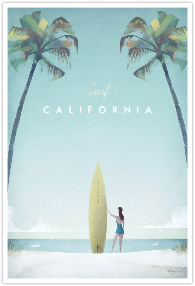 Vintage Travel Poster - Surf California Vintage Travel Art