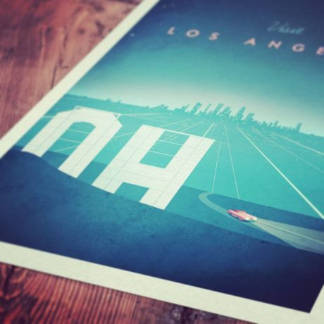Los Angeles Vintage Travel Poster - Art Print of LA Hollywood Sign - vintage style artwork by Henry Rivers of Travel Poster Co.