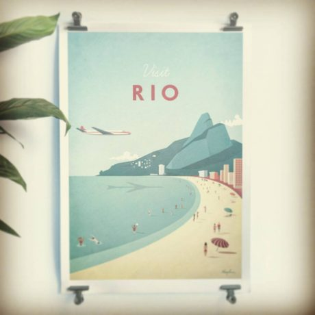 Rio Vintage Travel Poster art print with house plant interior inspiration