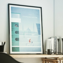Copenhagen Denmark Vintage Travel Poster - Framed Art Print in Modern Office by Henry Rivers