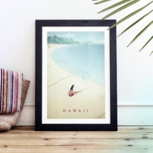 Framed Vintage Travel Poster of Hawaii, United States. Wood floor, tropical vintage style. Artwork by Travel Poster Co.
