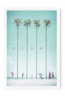 Miami Vintage Travel Poster Art by Henry Rivers