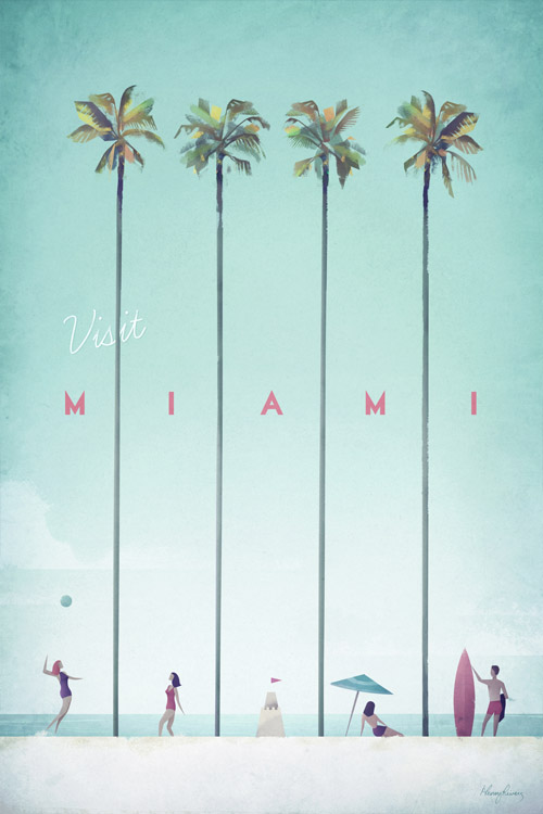 Miami Vintage Travel Poster - Artwork by Henry Rivers / Travel Poster Co.