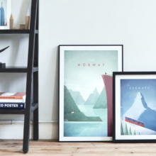 Interior style - art prints of vintage travel posters - Norway and Zermatt. Travel Poster Co.