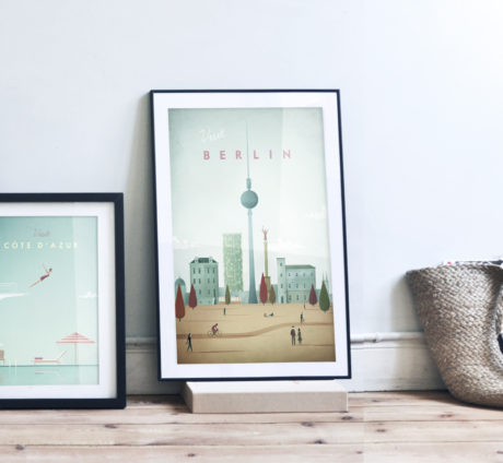 Framed Vintage Travel Posters in French house. Berlin and Paris artworks by Henry Rivers.