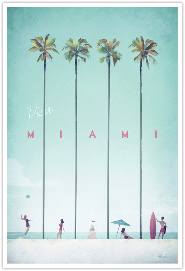 Miami Vintage Travel Poster - Art Print by Henry Rivers / Travel Poster Co.